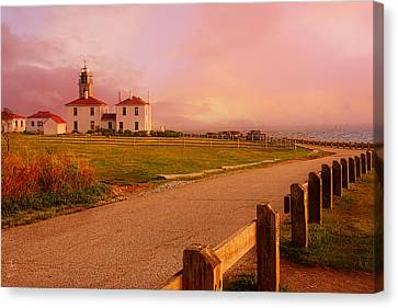 New England Lighthouse Canvas Print - Glisten- Beavertail Park Rhode Island by Lourry Legarde