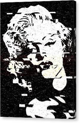 Glitch Art Marylin Monroe Canvas Print by Georgeta Blanaru