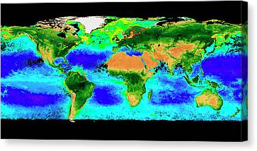 Phytoplankton Canvas Print - Global Biosphere by Nasa/seawifs/geoeye