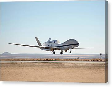 Global Hawk Unmanned Aerial Vehicle Canvas Print by Nasa/jim Ross