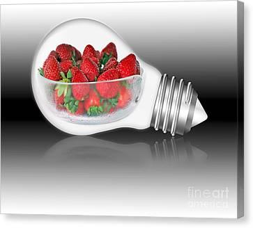 Global Strawberries Canvas Print by Kaye Menner