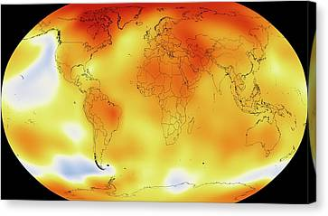 21st Century Canvas Print - Global Temperature Rise From 1950-2013 by Nasa/gsfc