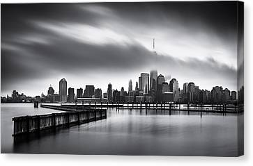 Manhatan Canvas Print - Gloomy Day For The Financial District by Mihai Andritoiu