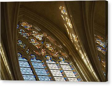 Glorious Colorful Sunlight - A Stained Glass Church Window In A Royal Chapel Paris France Canvas Print by Georgia Mizuleva