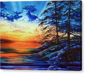 Glorious Lake Sunset Canvas Print by Hanne Lore Koehler