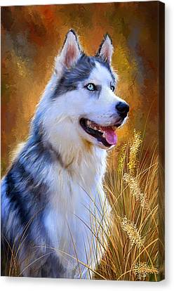 Malamute Canvas Print - Glorious Pride - Siberian Husky Portrait by Lourry Legarde