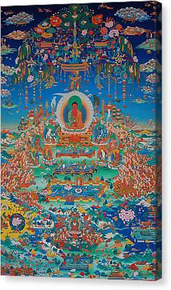 Tibetan Buddhism Canvas Print - Glorious Sukhavati Realm Of Buddha Amitabha by Art School