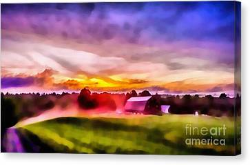 Glorious Sunset On The Farm Canvas Print by Edward Fielding