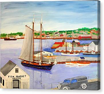 Gloucester Fish Mkt. And Schooners 1939 Canvas Print