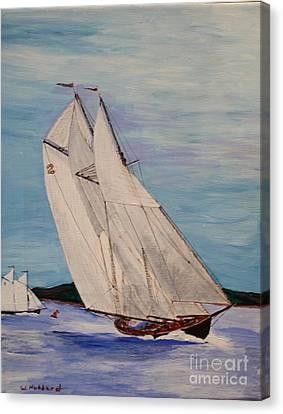Bluenose Canvas Print - Gloucester Fishing Sch. Columbia by Bill Hubbard