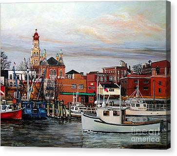 Gloucester Harbor Canvas Print by Eileen Patten Oliver