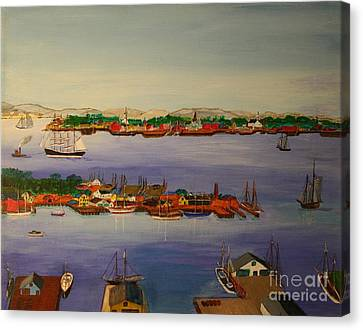 Gloucester Harbor Morning 1905 Canvas Print by Bill Hubbard