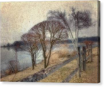 Gloucester Winter Morning - Vintage Canvas Print by Joann Vitali
