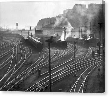 Glouster Railroad Yards Canvas Print by Underwood Archives