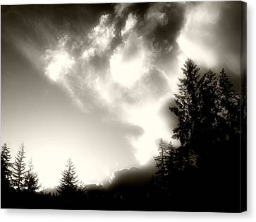 Canvas Print featuring the photograph Glowing Clouds by Adria Trail