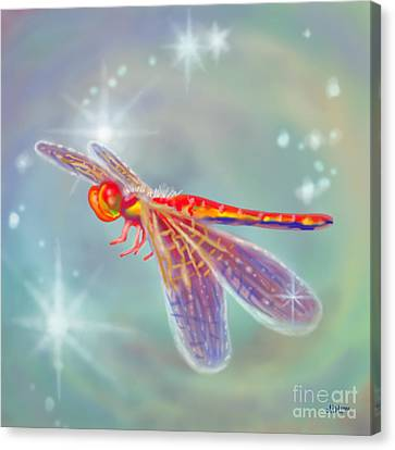 Glowing Dragonfly Canvas Print by Audra D Lemke
