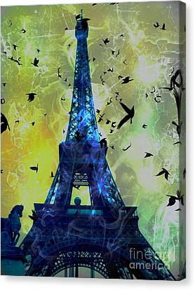 Glowing Eiffel Tower Canvas Print