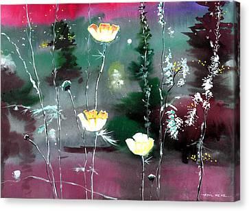 Glowing Flowers Canvas Print by Anil Nene