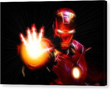 Glowing Iron Man Canvas Print by Dan Sproul