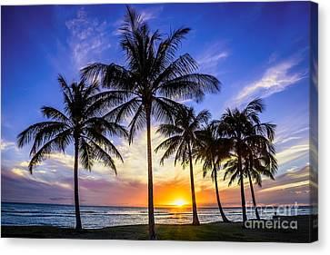 Glowing Orange Hawaiian Sunset Canvas Print by Aloha Art