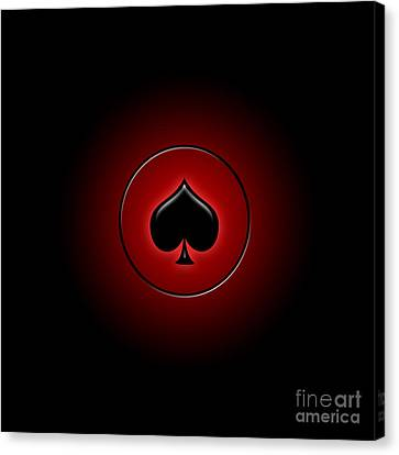 Glowing Spade Card Suit Canvas Print by Gaspar Avila