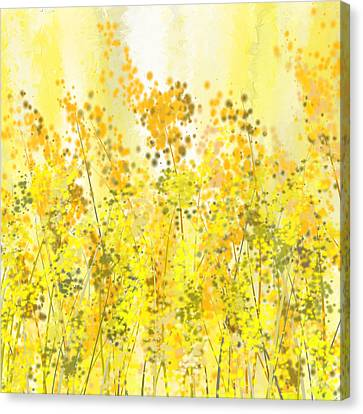 Glowing Spring- Yellow Abstract Art Canvas Print
