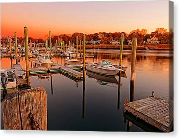Glowing Start - Rhode Island Marina Sunset Warwick Marina  Canvas Print by Lourry Legarde