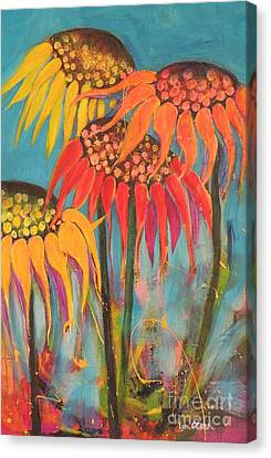 Canvas Print featuring the painting Glowing Sunflowers by Lyn Olsen