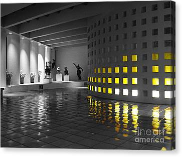 Canvas Print featuring the photograph Glowing Wall Color Spash Black And White by Shawn O'Brien