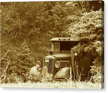 Gm Truck  Sepia Canvas Print by Steven Parker