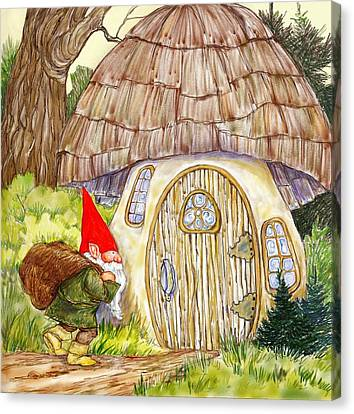 Gnome And Toadstool Home Canvas Print by Peggy Wilson