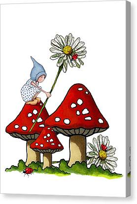 Gnome With Toadstools And Daisy Canvas Print by Joyce Geleynse