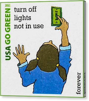Go Green- Turn Off Lights Not In Use Canvas Print by Lanjee Chee