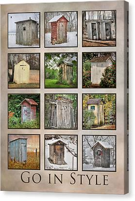 Toilet Canvas Print - Go In Style - Outhouses by Lori Deiter