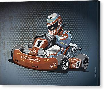 Go Cart Canvas Print - Go-kart Racing Grunge Color by Frank Ramspott
