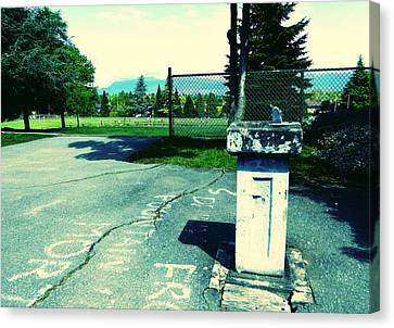 Canvas Print featuring the photograph School Drinking Fountain by Laurie Tsemak