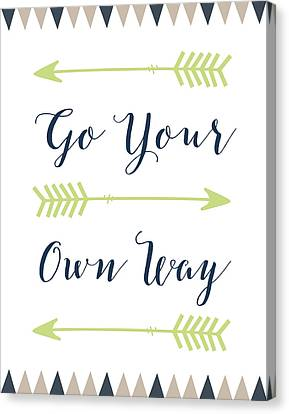 Go Your Own Way Cursive Canvas Print by Tara Moss