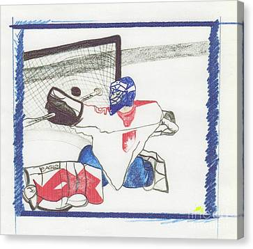 Canvas Print featuring the drawing Goalie By Jrr by First Star Art