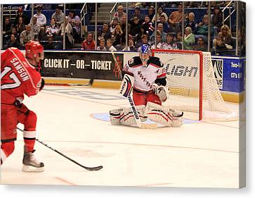 Goalie Protects Canvas Print by Karol Livote