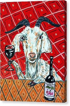 Goat At The Wine Tasting Canvas Print by Jay  Schmetz
