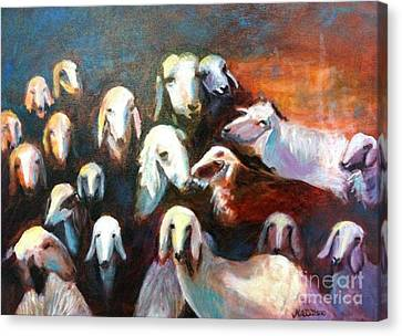 Canvas Print featuring the painting Goat Reunion by Marcia Dutton