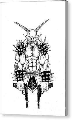 Horror Fantasy Movies Canvas Print - Goatlord Vengeance White by Alaric Barca