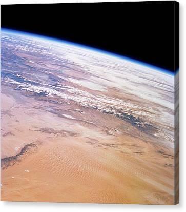 Gobi Desert And Qilian Mountains Canvas Print