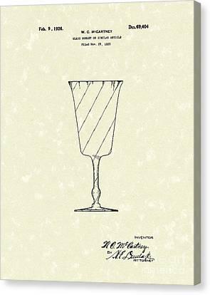 Goblet 1926 Patent Art Canvas Print by Prior Art Design