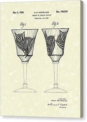 Goblet 1938 Patent Art Canvas Print by Prior Art Design