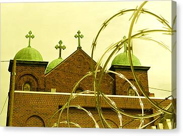 God And Razor Wire Canvas Print