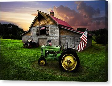 Wagon Canvas Print - God Bless America by Debra and Dave Vanderlaan