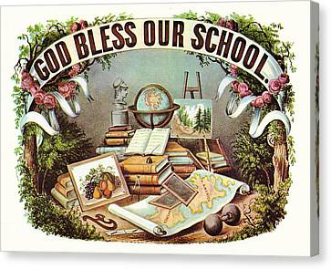 God Bless Our School Canvas Print