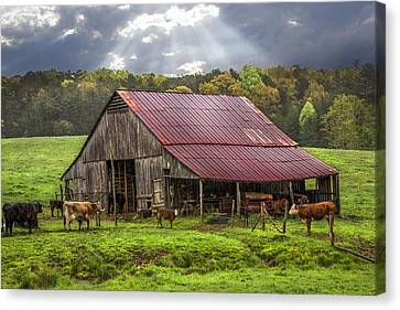 God Bless The Farmer Canvas Print by Debra and Dave Vanderlaan