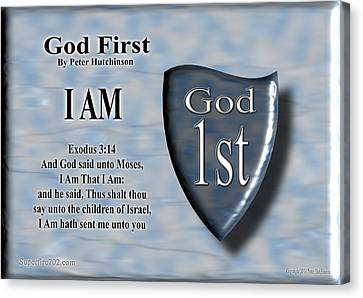 God First Canvas Print by Bible Verse Pictures